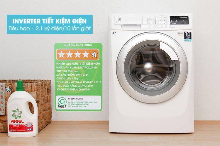 Máy Giặt Cửa Ngang Inverter Electrolux EWF10744 (7.5 Kg)