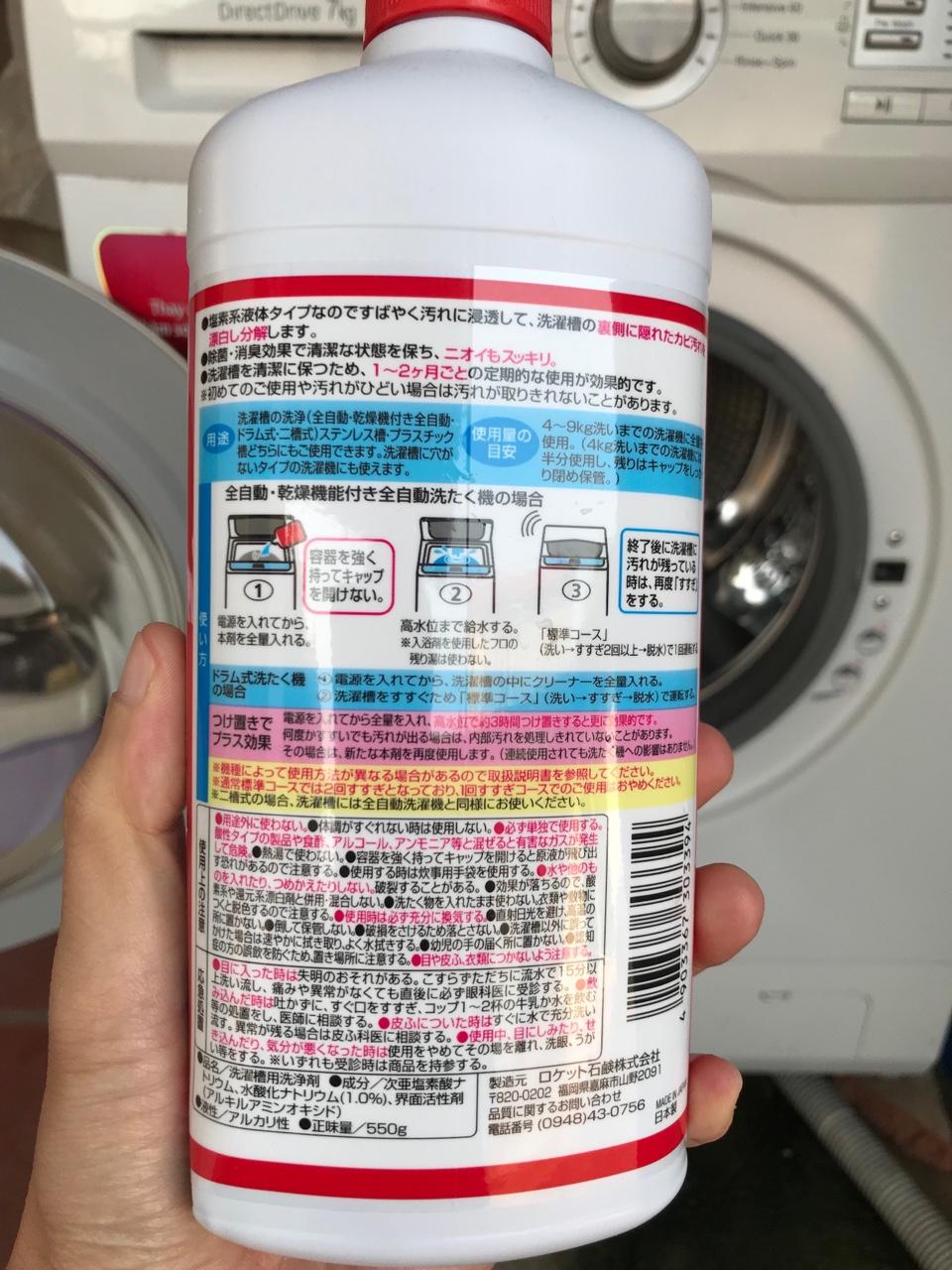 nước tẩy lồng máy giặt của nhật bản